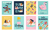 istock Vector abstract summer time illustration card with pin up girl swimming on animal float circle in ocean waves with calligraphy. 1161406706