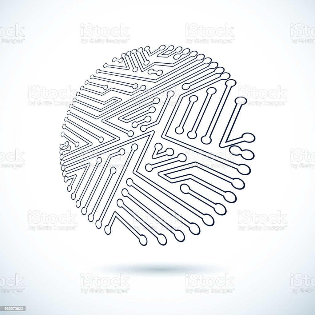 Circular Circuit Board Technology Background Graphic Of Technological Theme And Vector Abstract Illustration With