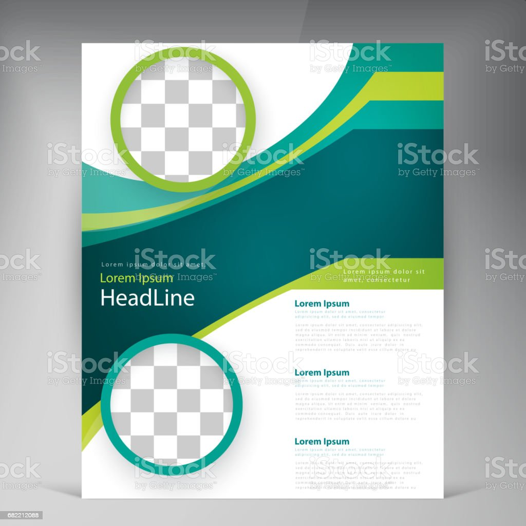 vector abstract template design flyer cover with turquoise and green