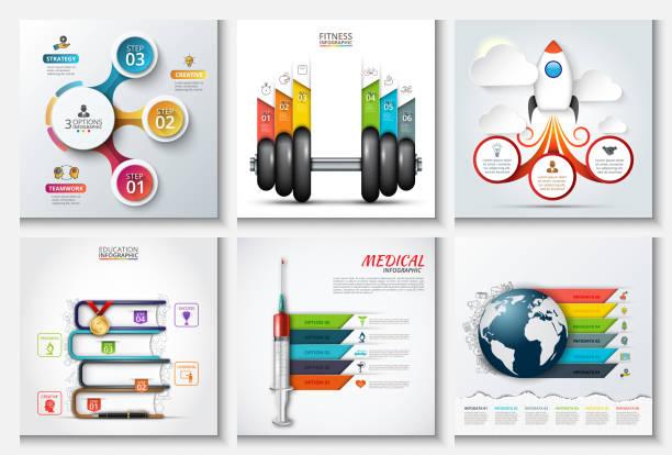illustrations, cliparts, dessins animés et icônes de modèles abstraits de vecteur pour infographie. - nuage 6