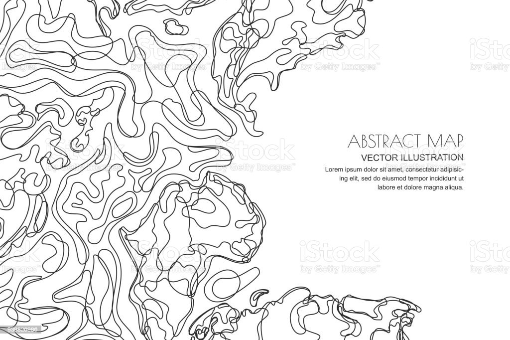 Vector abstract topographic map. Outline landscape background with copy space. Topography, geodesy line texture.