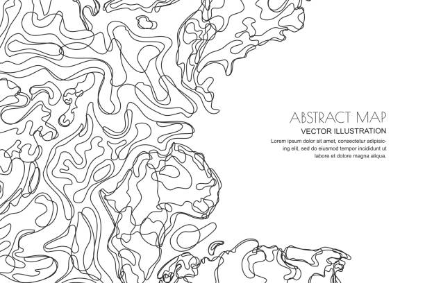 Vector abstract topographic map. Outline landscape background with copy space. Topography, geodesy line texture. Vector abstract contour topographic map. Outline black white landscape background with copy space. Topography, geodesy line texture. contour line stock illustrations