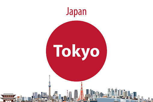 vector abstract travel card with flag of Japan and Tokyo cityscape