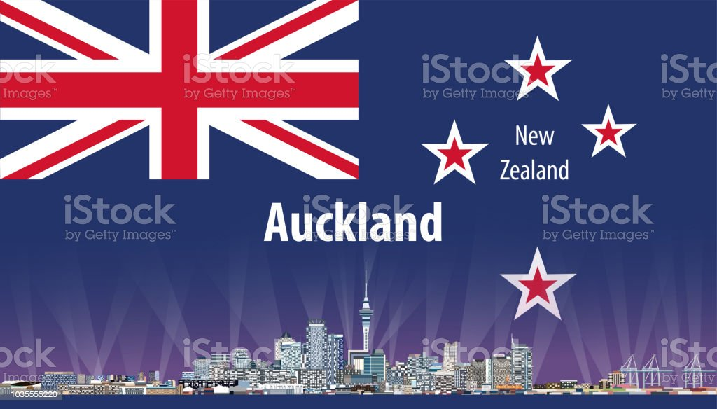 vector abstract travel card with flag of New Zealand and Auckland cityscape vector art illustration