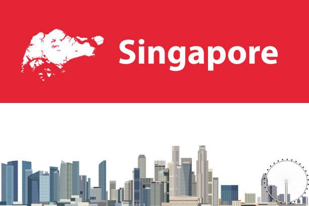 지도와 싱가포르의 도시 풍경 벡터 추상 여행 카드 - 싱가포르 stock illustrations