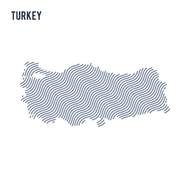 vector abstract wave map of turkey isolated on a white background. - turcja stock illustrations