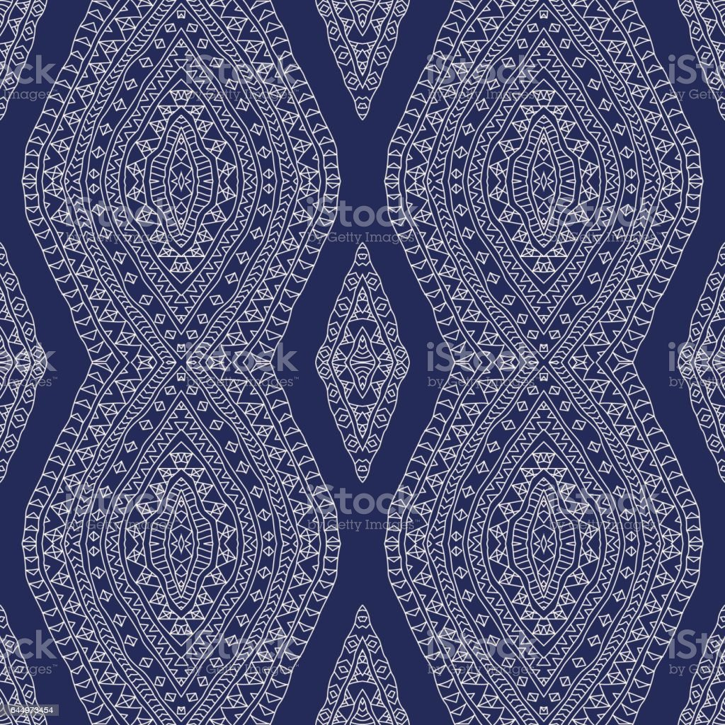 Vector abstract wavy seamless pattern from light beige hand drawn outline ornate rhombus, Eskimo ornaments, wavy stripes on a navy blue  backgrpund. Textile fantasy print. Wrapping paper. Batik painting vector art illustration