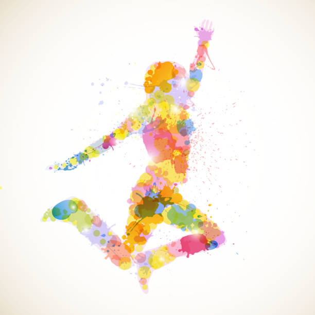 vector abstract woman - gymnastics stock illustrations, clip art, cartoons, & icons