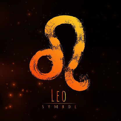 Vector Abstract Zodiac Sign Leo On A Dark Cosmic Background