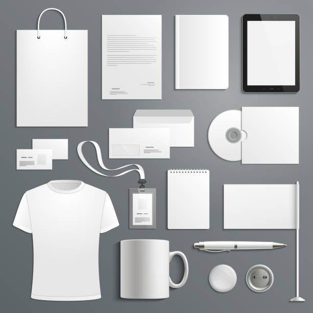 vector accessory templates for business branding - business cards templates stock illustrations