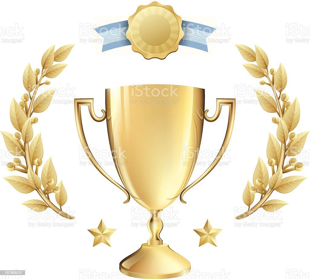 Vector Achievement Award Trophy and Laurel Wreath in Gold vector art illustration