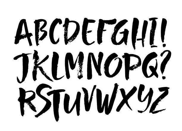 Vector Acrylic Brush Style Hand Drawn Alphabet Font. Calligraphy alphabet on a white background Vector Acrylic Brush Style Hand Drawn Alphabet Font. Calligraphy alphabet on a white background. Ink hand lettering. alphabet drawings stock illustrations