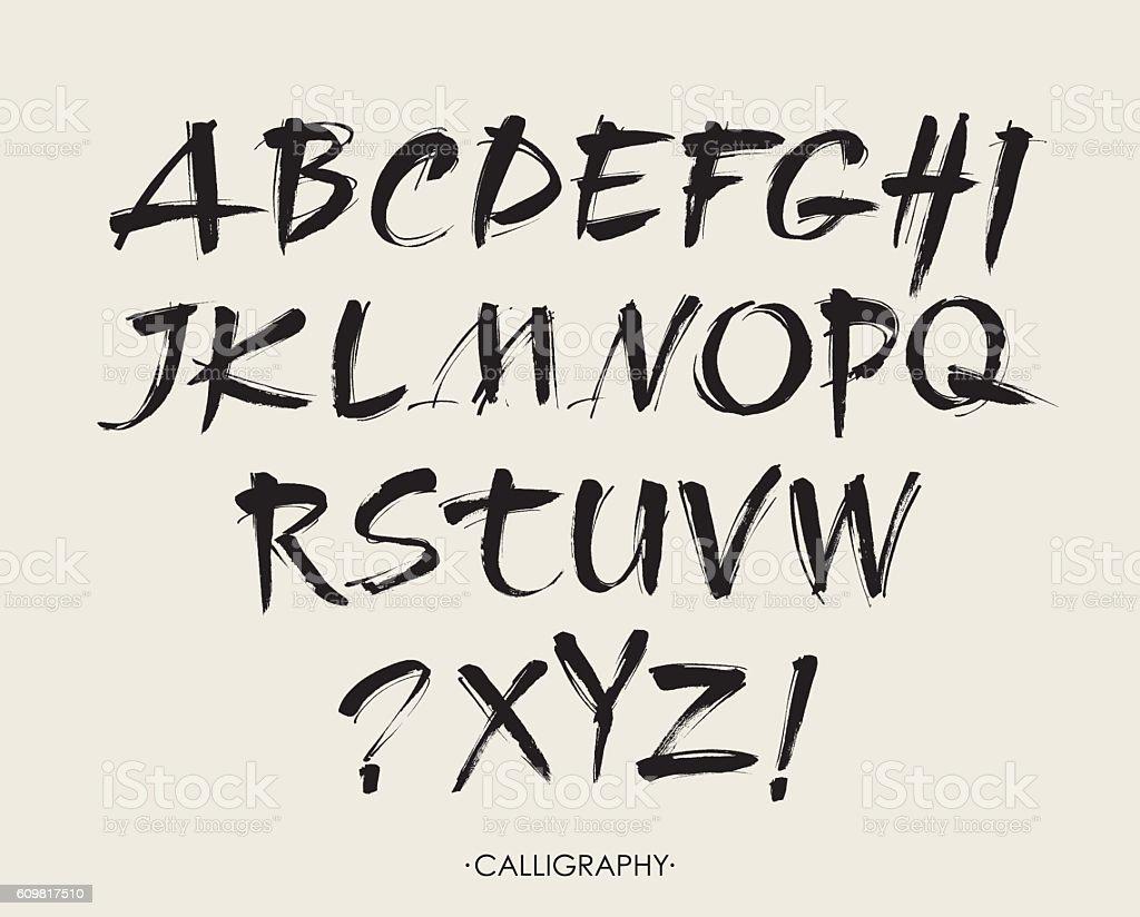 Vector Acrylic Brush Style Hand Drawn Alphabet Font vector art illustration