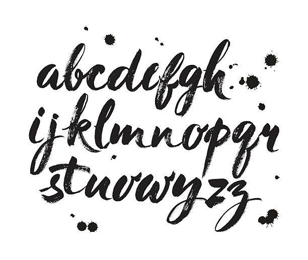 vector acrylic brush style hand drawn alphabet font - graffiti texture stock illustrations, clip art, cartoons, & icons