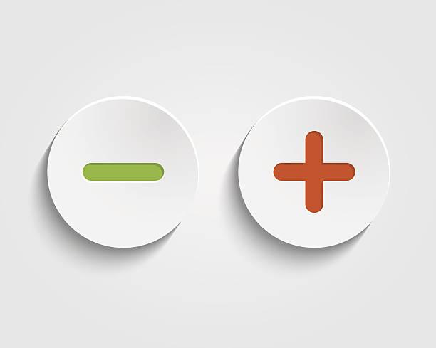 illustrazioni stock, clip art, cartoni animati e icone di tendenza di vettore aggiungi, cancellazione, più e meno indicazioni su bottoni - segno meno