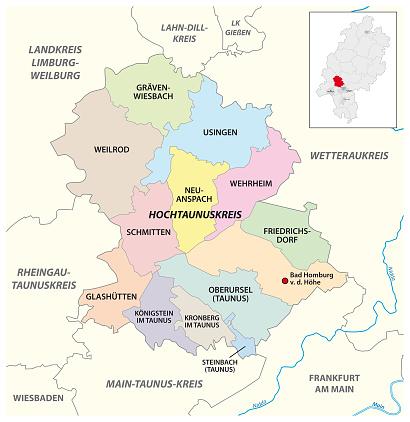 Vector administrative district map Hochtaunuskreis, Hesse, Germany