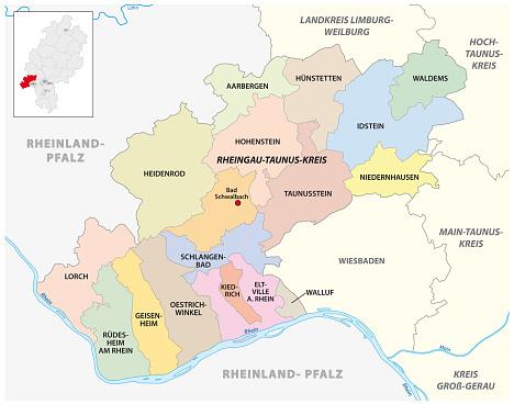Vector administrative district map Rheingau-Taunus-Kreis, Hesse, Germany