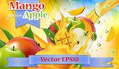 Vector ads 3d promotion banner. Realistic apple mango splashing with falling slices, juice drops, vitamins, leaves. Mock up for yogurt, ice cream, juice brand advertising. Label poster template.