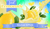 Vector ads 3d promotion banner, Realistic lemon and  fruit splashing with falling slices, juice drops, vitamins, leaves. Mock up for juice, ice cream, yogurt brand advertising. Label poster template.