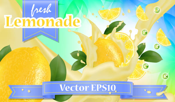 illustrazioni stock, clip art, cartoni animati e icone di tendenza di vector ads 3d promotion banner, realistic lemon and  fruit splashing with falling slices, juice drops, vitamins, leaves. mock up for juice, ice cream, yogurt brand advertising. label poster - fruit juice bottle isolated