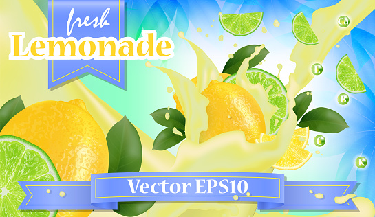 Vector ads 3d promotion banner, Realistic lemon and  fruit splashing with falling slices, juice drops, vitamins, leaves. Mock up for juice, ice cream, yogurt brand advertising. Label poster