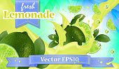 Vector ads 3d promotion banner, Realistic lime and  fruit splashing with falling slices, juice drops, vitamins, leaves. Mock up for juice, ice cream, yogurt brand advertising. Label poster template.