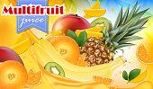 Vector ads 3d promotion banner, Realistic mango, orange, banana, pineapple splashing with falling slices, juice drops, vitamins, leaves. Ice cream, yogurt brand advertising. Label poster