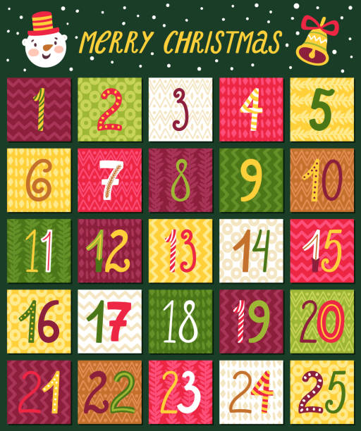 vector advent calendar. christmas countdown with hand written numbers. - advent stock illustrations