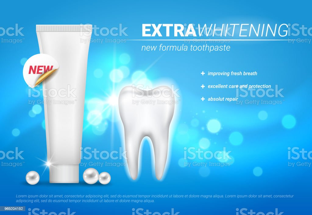 Vector advertisement poster design for whitening toothpaste with plank tube, shining tooth and pearls vector advertisement poster design for whitening toothpaste with plank tube shining tooth and pearls - stockowe grafiki wektorowe i więcej obrazów czysty royalty-free