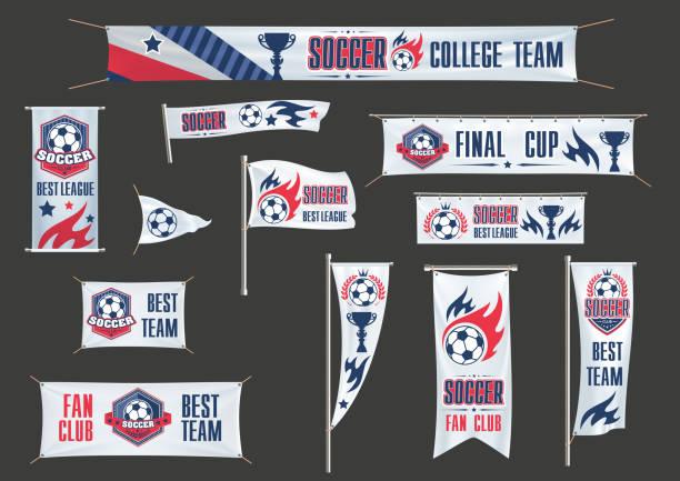 vektor-werbung banner-fußball-europameisterschaft - fussball fan stock-grafiken, -clipart, -cartoons und -symbole