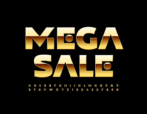 Vector advertising flyer Mega Sale. Golden elite Alphabet Letters and Numbers set