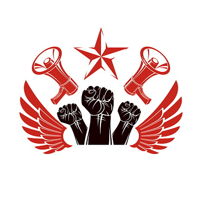 Vector advertising poster created using clenched fists raised up, bird wings and loudhailer equipment. Propaganda as the method of ideology imposing