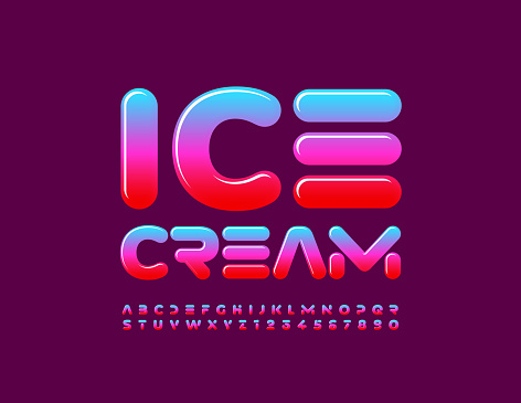 Vector advertising sign Ice Cream. Bright set of Alphabet Letters and Numbers