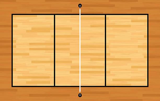 ベクトル空から見た木製のバレーボールコートイラストレーション - バレーボール点のイラスト素材/クリップアート素材/マンガ素材/アイコン素材