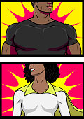 Two vector illustrations of a couple of African American Superhero closed-up to the chest