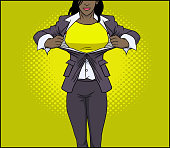 Vector African American Superhero Woman Transformation