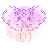 Elephant with ornate lotus mandal. Ethnic elephant background, tattoo art, yoga.
