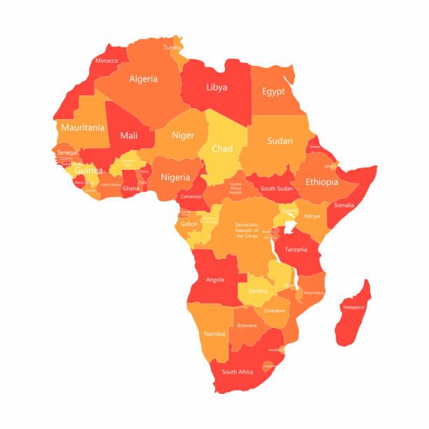 向量非洲地圖與國家邊界。地圖上的紅色和黃色非洲國家 - africa 幅插畫檔、美工圖案、卡通及圖標