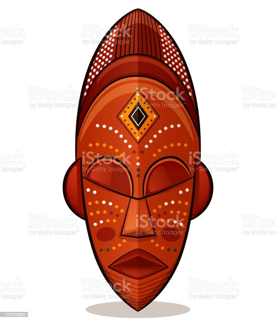 Vector african mask wood concept vector art illustration