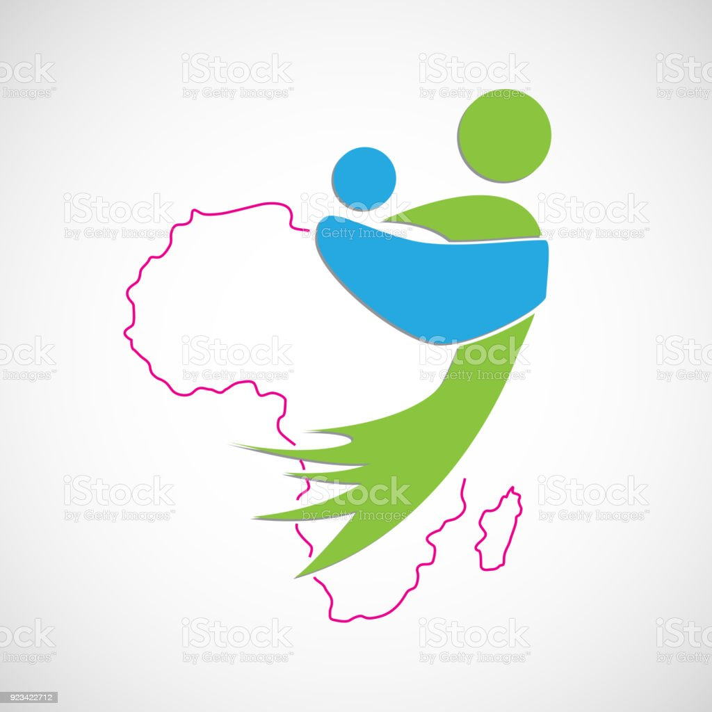 Vector african mother. Save Africa. Children