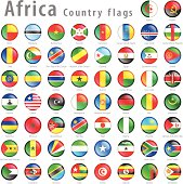 Vector African National Flag Button Set
