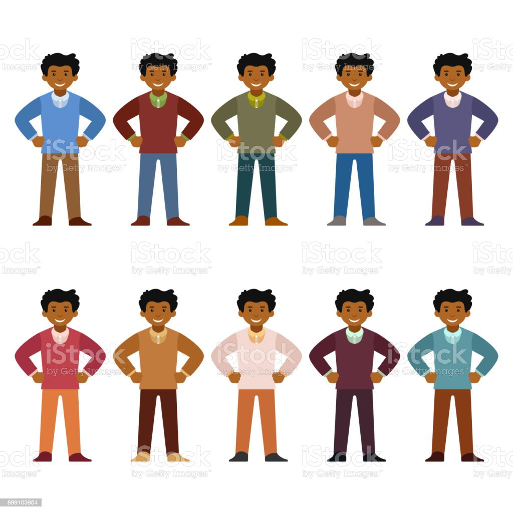 Vector african office worker character set in flat style vector art illustration
