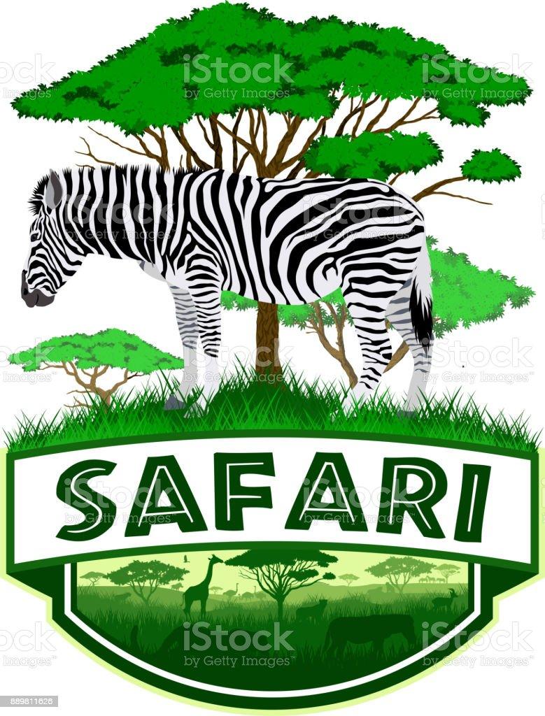 Vektor Afrikanischen Savanne Safari Emblem Mit Zebra Stock Vektor ...