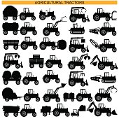 Vector Agricultural Tractor Pictograms