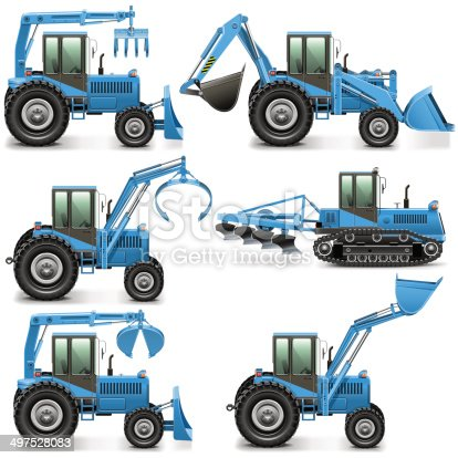 Vector agricultural machinery set isolated on white background
