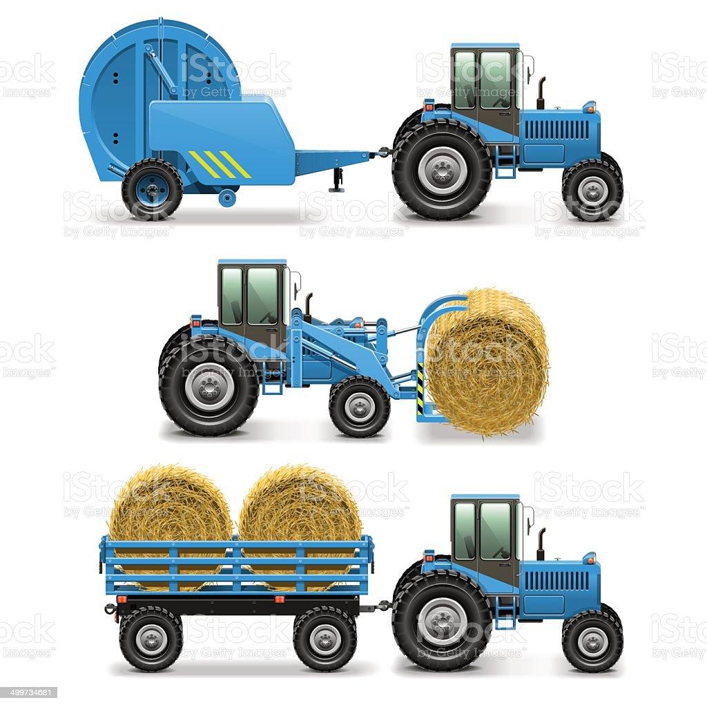 Vector Agricultural Tractor Set 5 vector art illustration