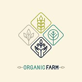Vector agriculture and organic farm line logo
