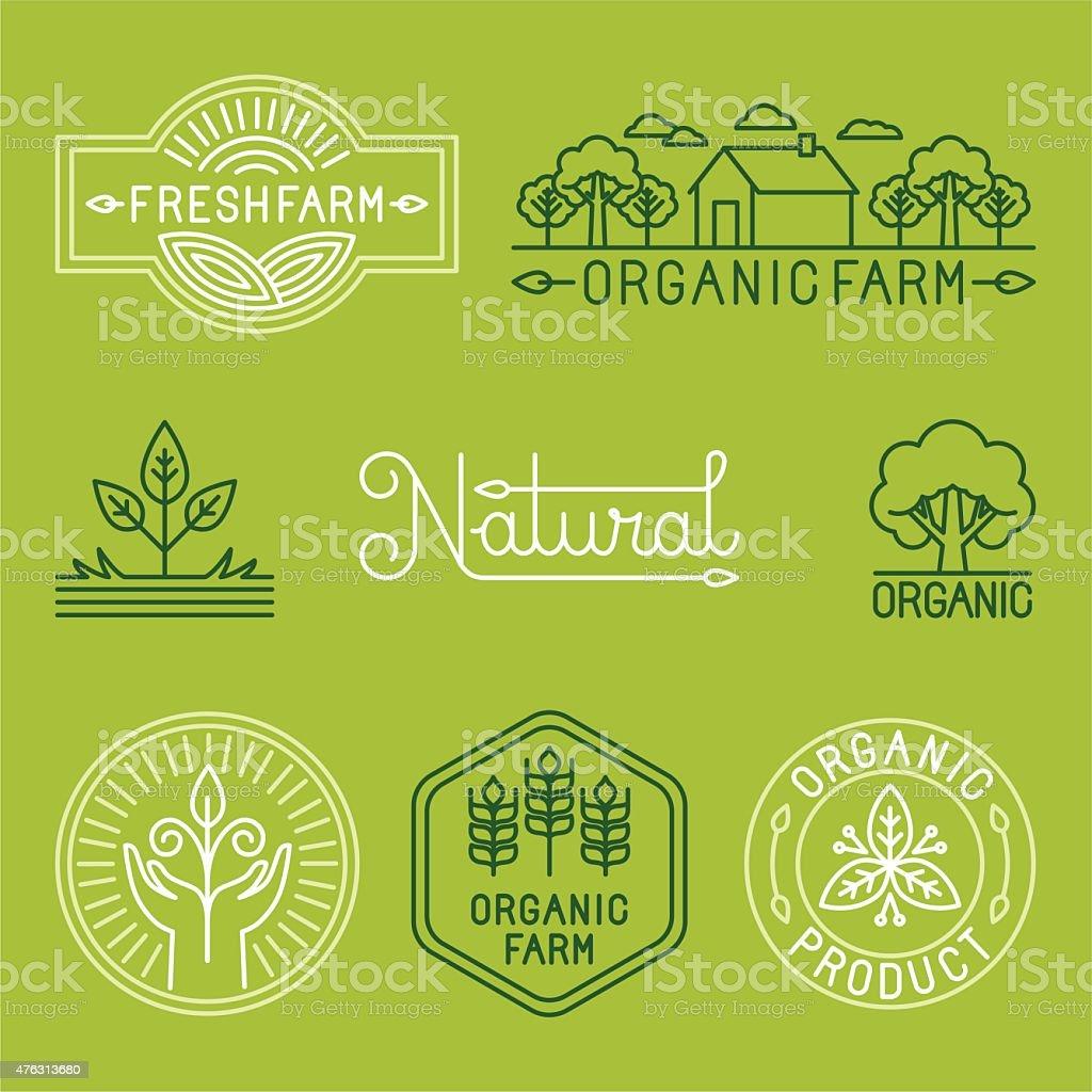 Vector agriculture and organic farm line logos vector art illustration
