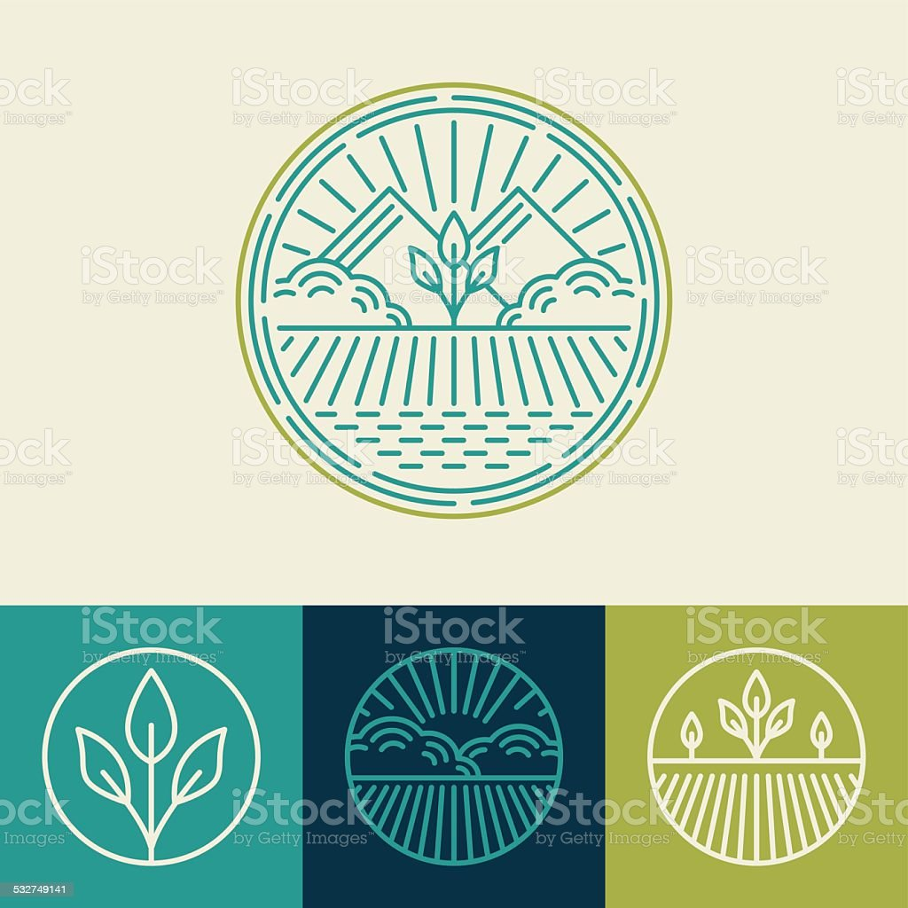 Vector agriculture and organic farm line logos vector art illustration