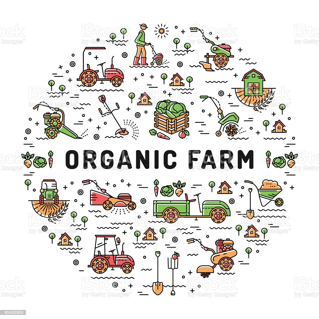 Vector agriculture Organic Farm line icons, Garden tiller, farm machines vector art illustration